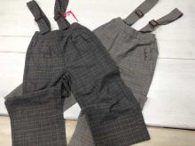 Plaid Wide long pants (with Suspenders)