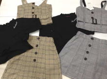 Plaid Bustier & Skirt (with Rib high neck long-sleeved T-shirt)