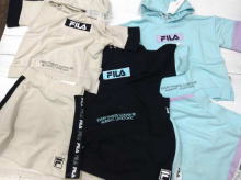 FILA Short length Hooded Thin Short-sleeved Sweatshirts & Sweat skirt (with Inner pants)